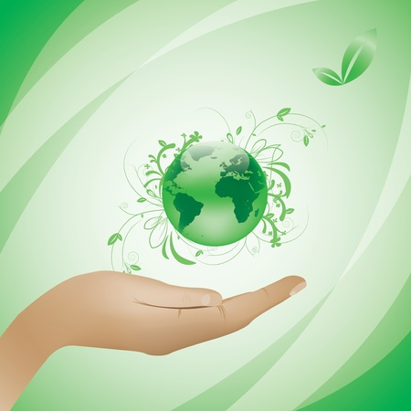 Environment concept green background globe in hand Vector