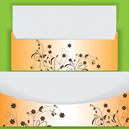 chatbox: Creative floral design lettes abstract orange brown Illustration