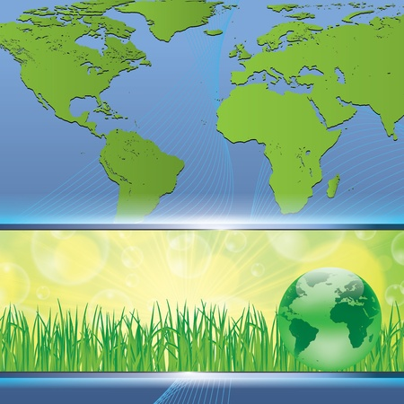Green earth map nature environmental concept Vector