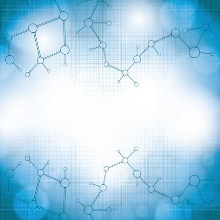 Molecule blue grid background Illustration