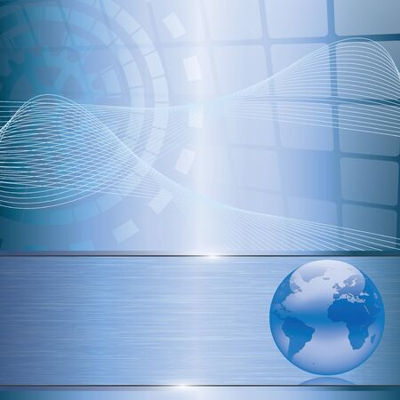 Abstract blue business background with earth globe Illustration