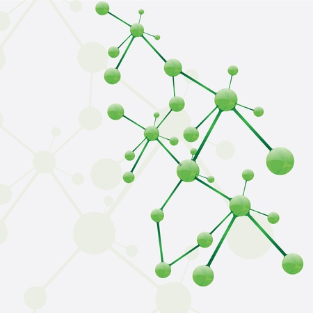 Abstract molecule green silver background Illustration