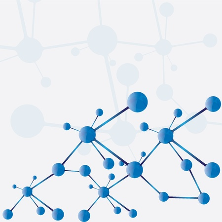 Abstract molecule blue silver background Vector