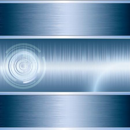 and sound: Fondo azul abstracto del metal tech Vectores