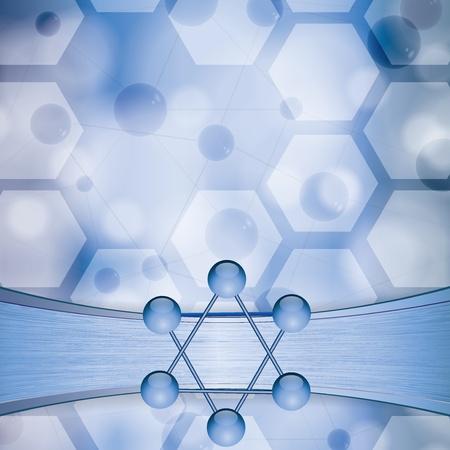 Molecule illustration blue metal background