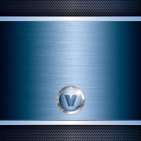 cromo: Abstracto azul rejilla tech metal de fondo Vectores