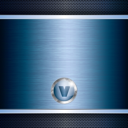 Blue abstract tech grid metal background Vector