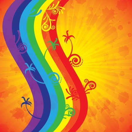 Colorful summer background with palms and rainbow Stock Vector - 18093274