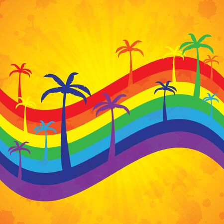 Colorful summer background with palms and rainbow Stock Vector - 18093244