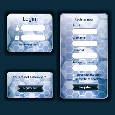 Modern blue web card login form  Vector