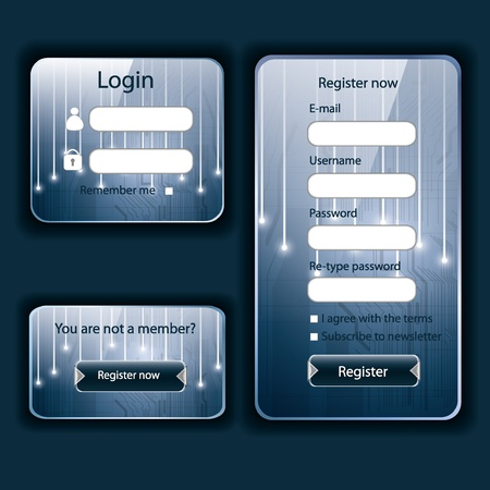 Modern tech blue web card login form  Vector