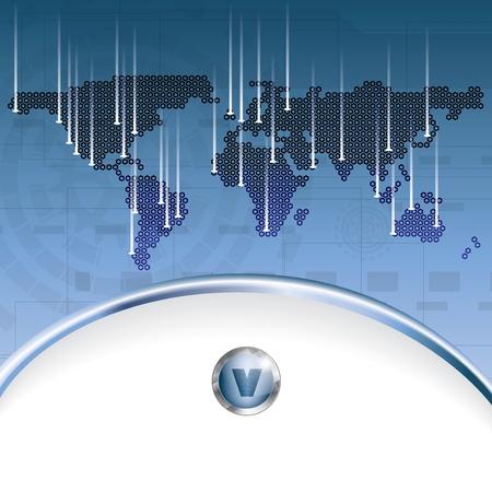 Abstrait affaires bleu avec de la terre carte Illustration