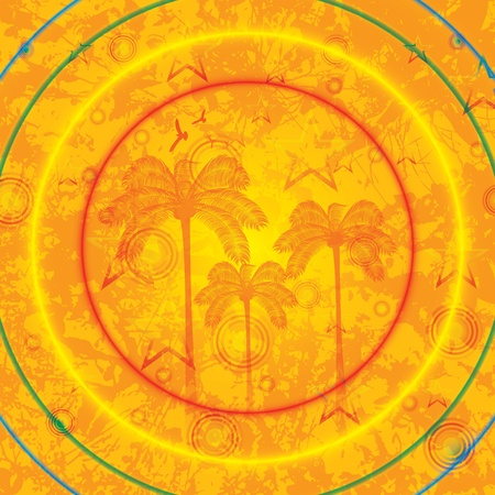 Summer tropical holiday background with palms Vector