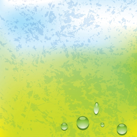 Vector grunge spring background with water drops Vector