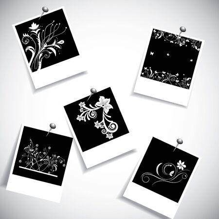 photoframe: photo frame with creative flower design  Illustration