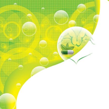 medical drawing: Extracto natural de formaci�n m�dica verde Vectores