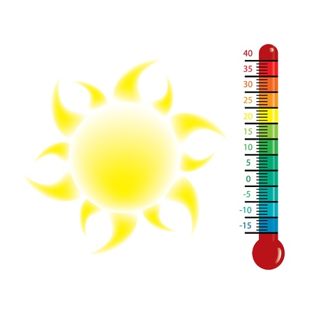 hot temperature: Heat alert illustration with sun Illustration