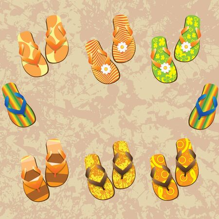 a thong: Flip flop set  Illustration on grunge background