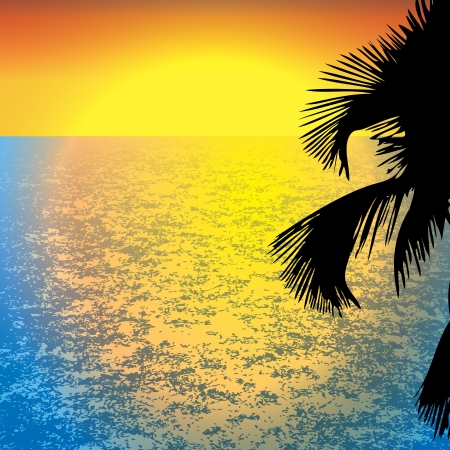 illustration of sunset view in beach with palm tree