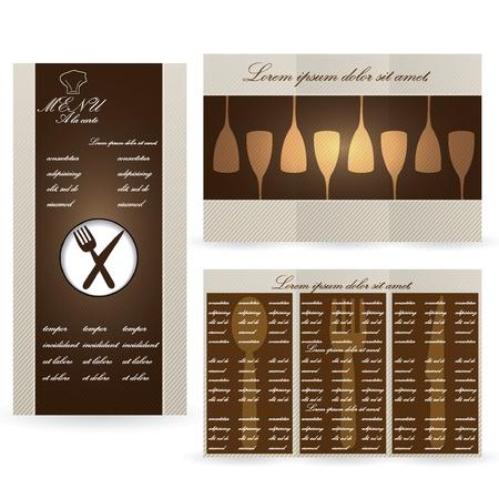 Cartes de menu Brown pour le restaurant