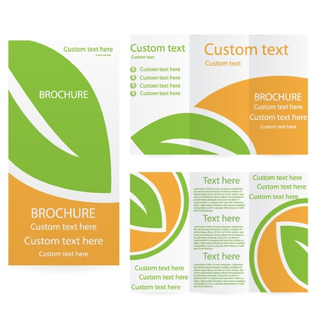 Vector Brochure Layout Design Template green orange environmental