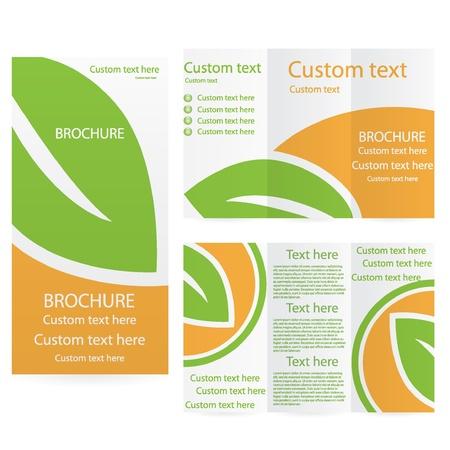 Vector Brochure Layout Design Template green orange environmental
