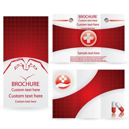 Vector Brochure Mise Design Modèle rouge médical