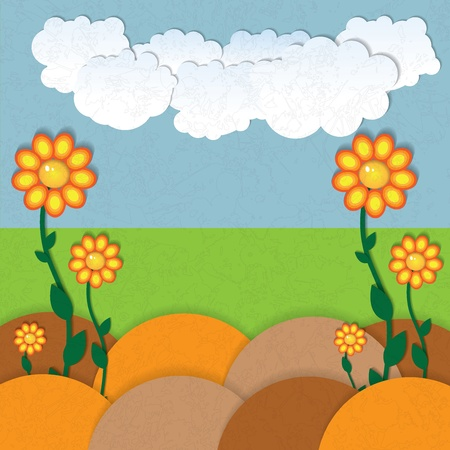 Abstract summer grunge background flowers and clouds Vector