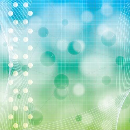 генетика: Абстрактные синие молекулы зеленом фоне Иллюстрация