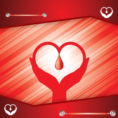 hand beats: Abstract red medical background thanking for being donor Illustration