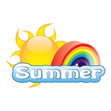 Vector summer illustration with sun and rainbow Vector