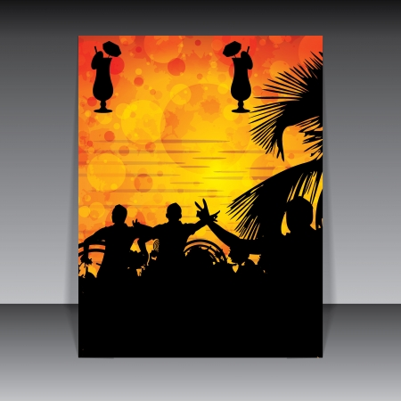 club flyer: Beach Party design template sunset background