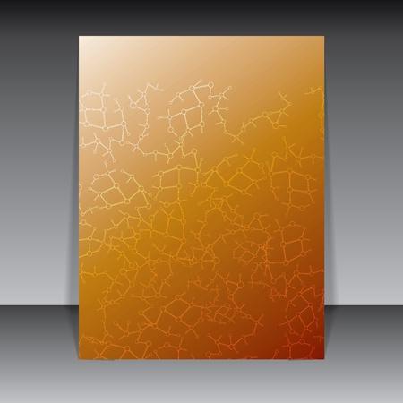 Abstract molecule orange brown background Vector