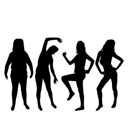 exercise silhouette: Isolated woman silhouettes white background