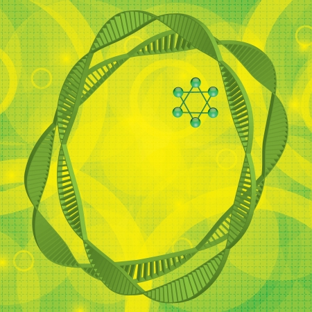 Abstract DNA green background Vector