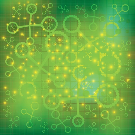Abstract molecule green background Stock Vector - 19973704