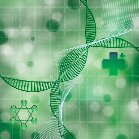 Abstract molecule DNA green background Vector