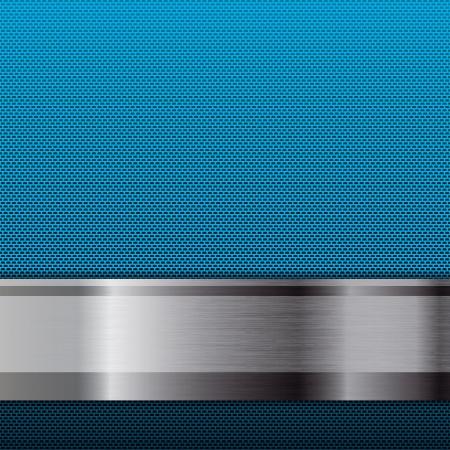 carbone: R�sum� m�tallique fond de grille bleue Illustration