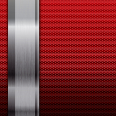 aluminium wallpaper: Abstract metallic grid background red