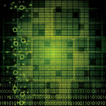Abstract tech binary green background Stock Vector - 19973821