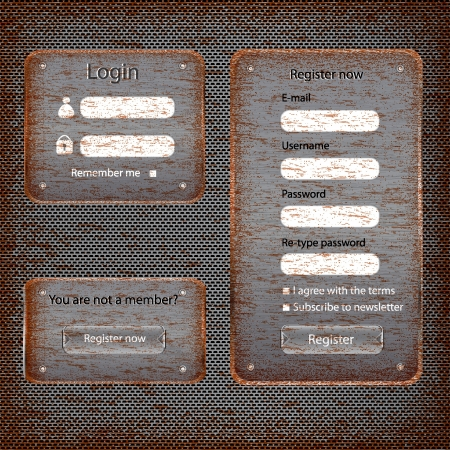 login button: Modern rusted web card login form retro antique background Illustration