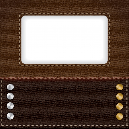 Brown leather background with metal rivets Stock Vector - 20329892