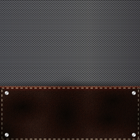 Brown leather and metal grid background and rivets Stock Vector - 20329900