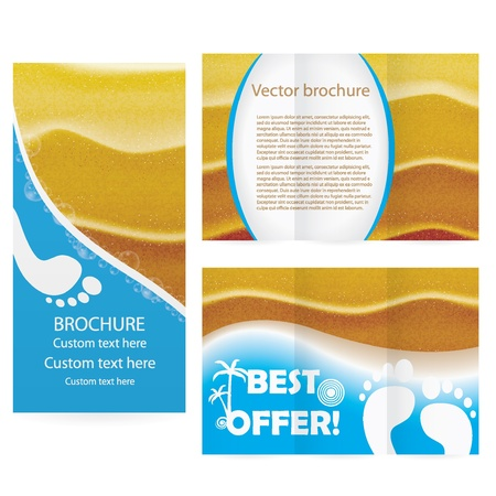 footprints in sand: Brochure with ealistic sand in sunset lights illustration Illustration