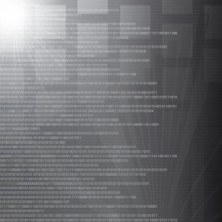 High tech nombre binaire abstrait argent