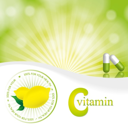 vitamin c: Lemon illustration abstract background yellow green Illustration
