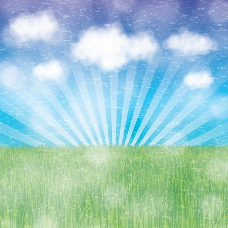 Abstract spring summer background with clouds Vector