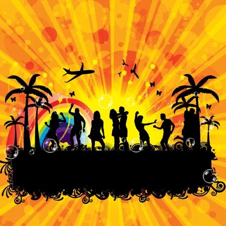 Beach Party mod�le de conception de fond coucher de soleil Illustration