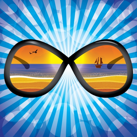 goggles: Sunglasses with beach reflection blue backgrouns Illustration