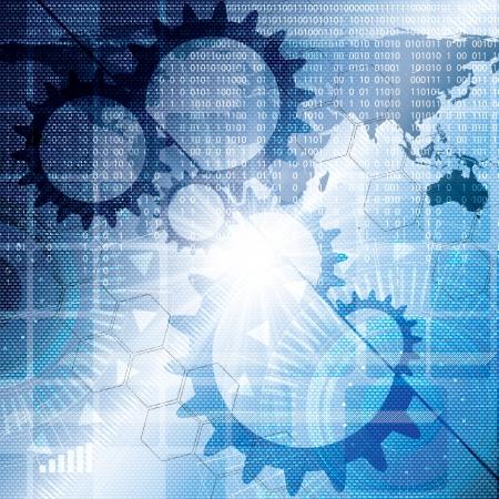 R�sum� technologie bleu fond binaire